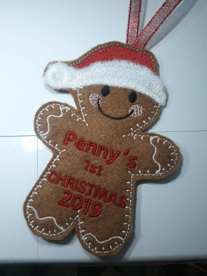 Gingerbread babys first Christmas 2019. Personalised first Christmas decoration