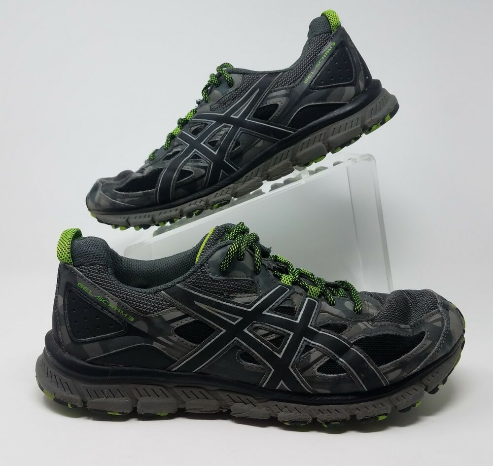99bdaff810f ASICS Gel-Scram 3 Men Sz10.5 Carbon Black Green Gecko Trail Running Shoes