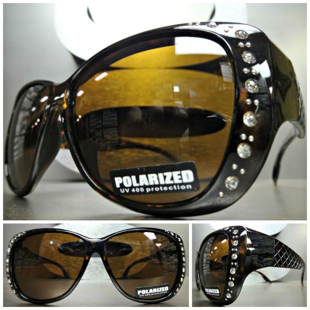 9d67652c64 Details about BLING WRAP AROUND DRIVING POLARIZED SUN GLASSES Over RX Glass  Fit Tortoise Frame