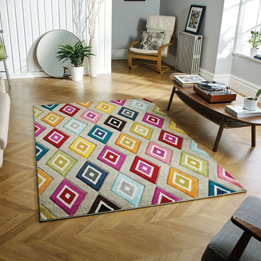 4a350aef5e4 Piccadilly 5996E Vibrant Geometric Multi Coloured Rug various sizes and  runner