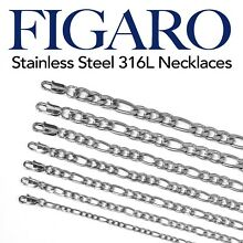 Stainless Steel 316L Figaro Chain Necklace Men Women 16
