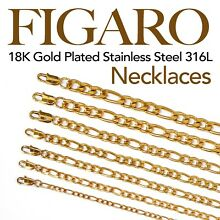 18K Gold Plated Stainless Steel 316L Figaro Chain Necklace Men Women 16in - 48in