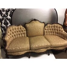 Anitque Victorian Sofa with Wood Carving and Gold Fabric