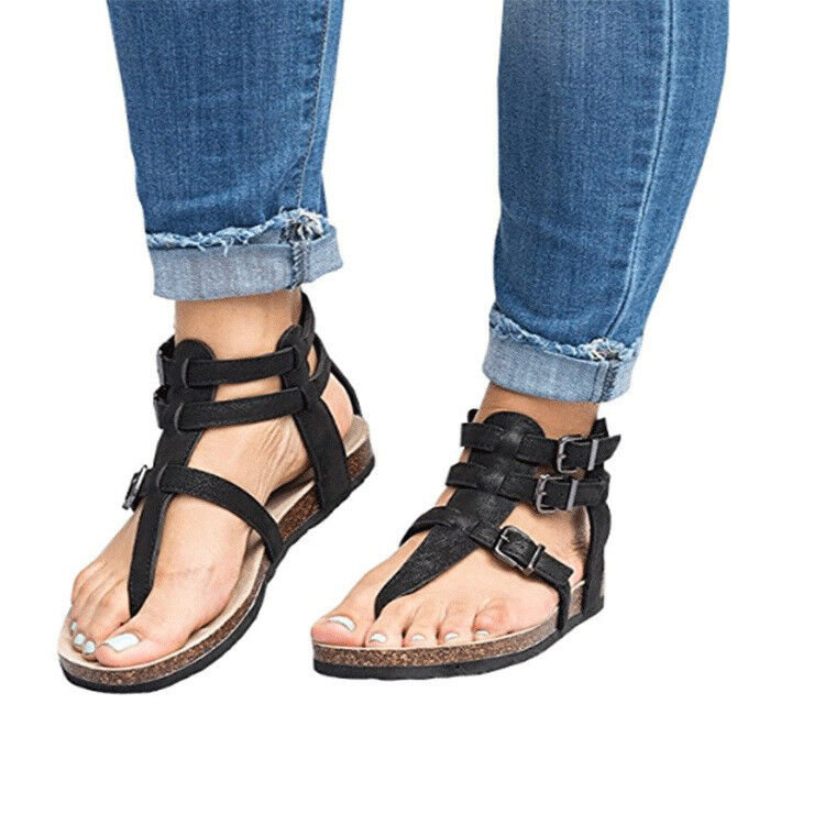 Women Pu Leather Ankle Strap Buckle Sandal Rubber Flat