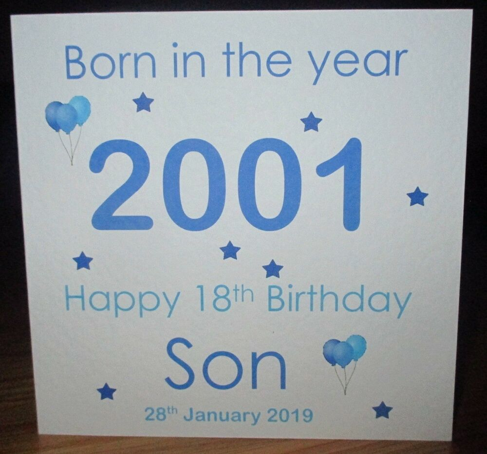 Personalised Born In The Year 2000 18th Birthday Card Son