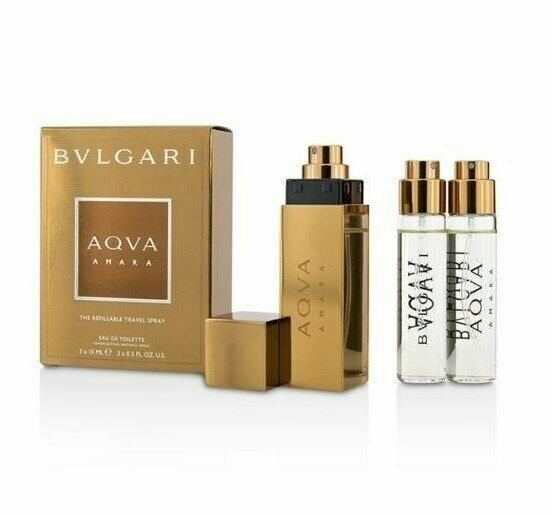 906580e9719 Bvlgari Aqva Amara 3 x 15 ml Travel Spray Womens Perfume Gift Set NIB  783320914935
