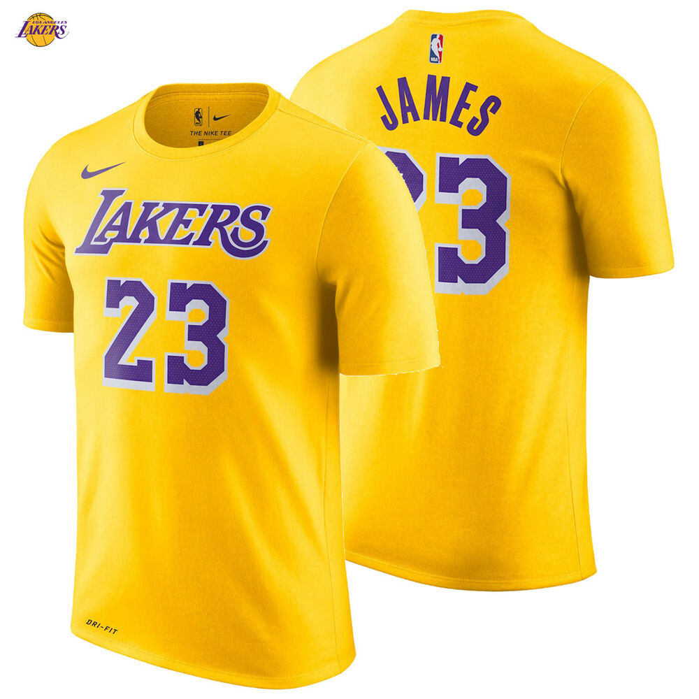 9ee01ff05fb0 Details about LeBron James Los Angeles Lakers Nike T-Shirt Icon Edition 2018  19 Name Number 23