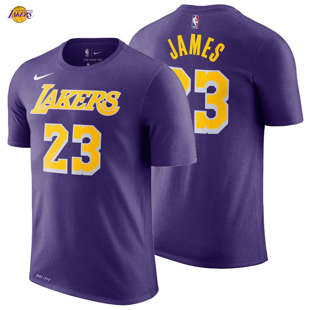 f04996ced70ca Details about LeBron James Los Angeles Lakers Nike T-Shirt 2018 19 Icon  Edition Name Number 23