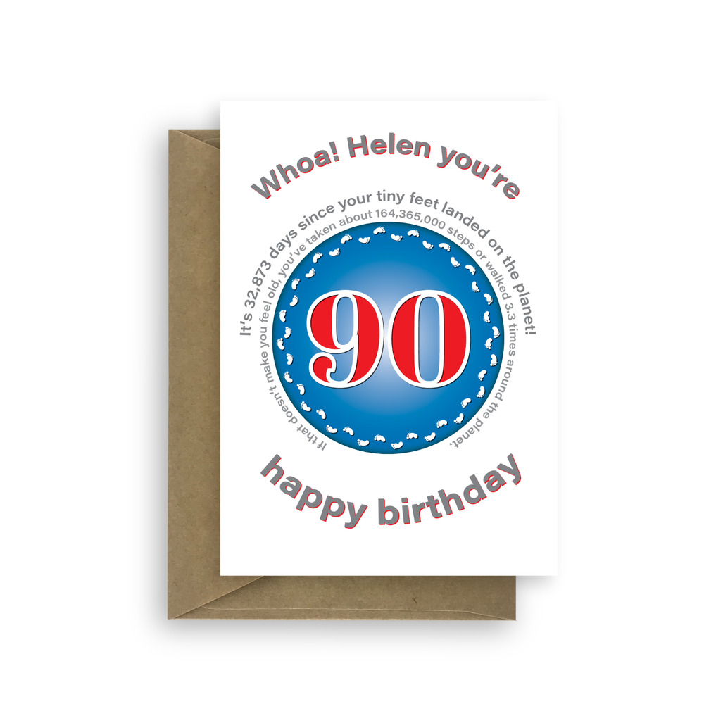 Details About Funny Personalised 90th Birthday Card For Her Him Edit Name 90 Bday