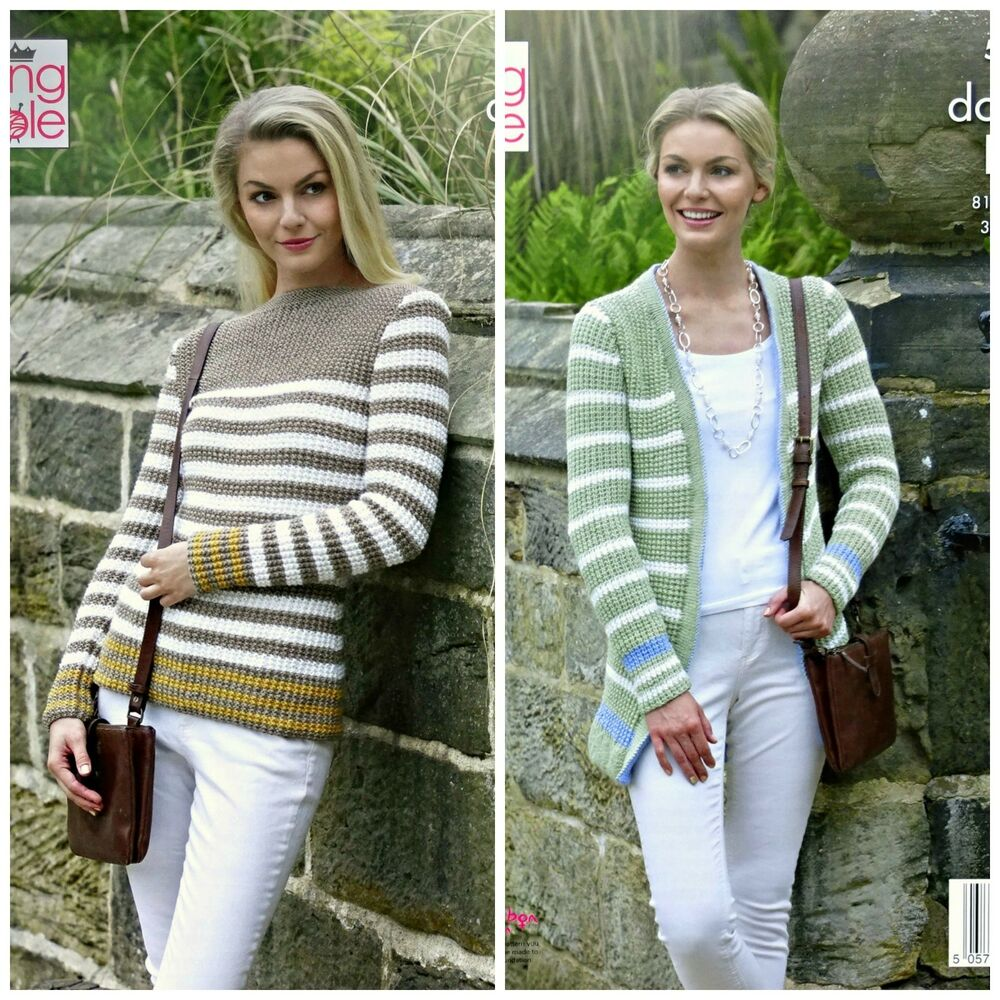 657a86115 Details about KNITTING PATTERN Ladies Striped Cardigan   Jumper Merino DK  King Cole 5313