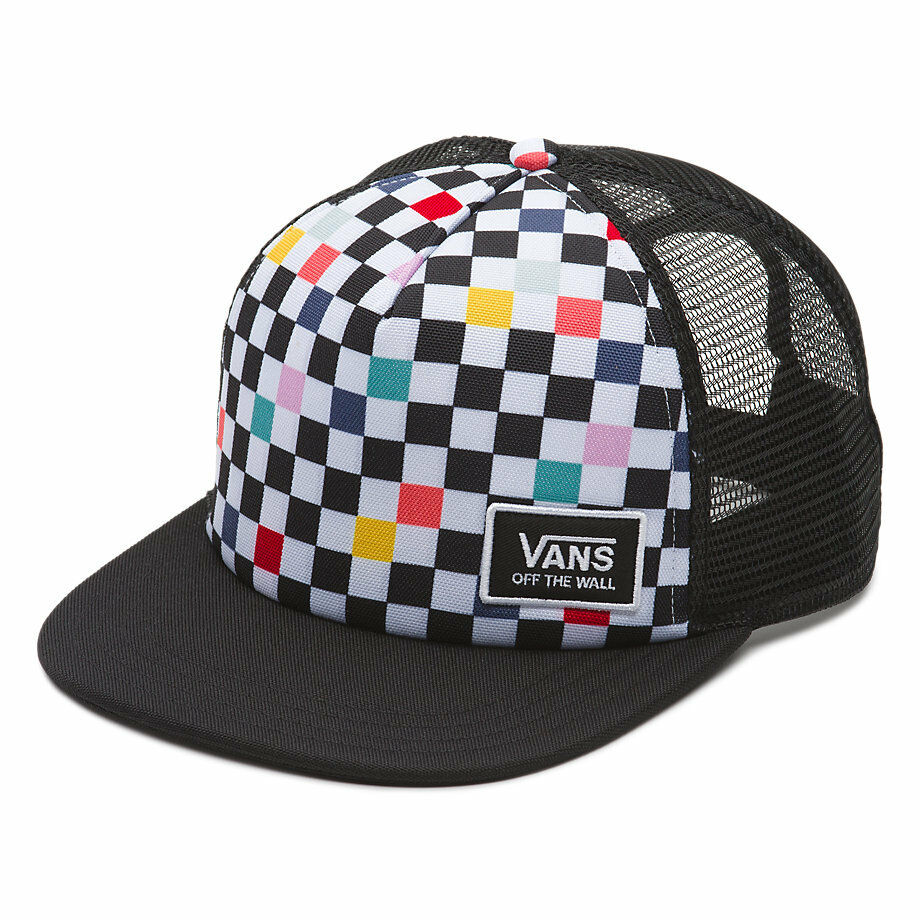 104744e4aa0ff8 Details about VANS Women s - CHECKBOARD Trucker Hat (NEW) Beach Bound MULTI  BLACK Cap Snapback
