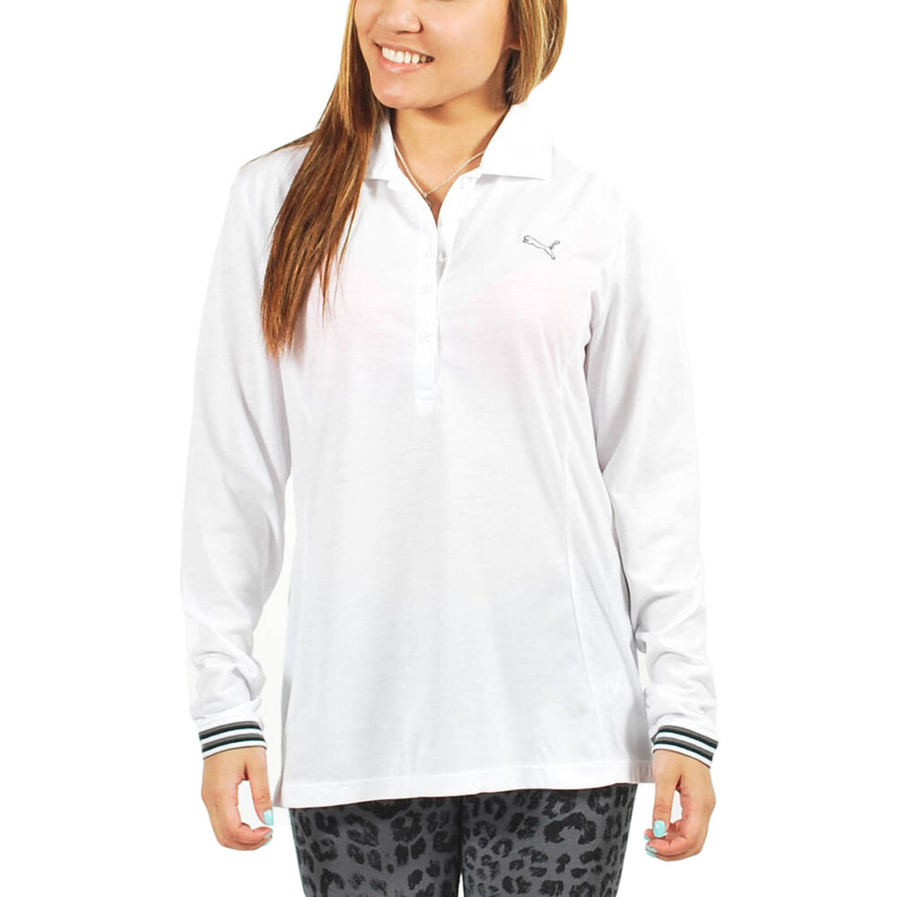 Details about Women s PUMA Golf Polo Shirt Long-Sleeve White size XS (T14)   60 17dbf5dd80