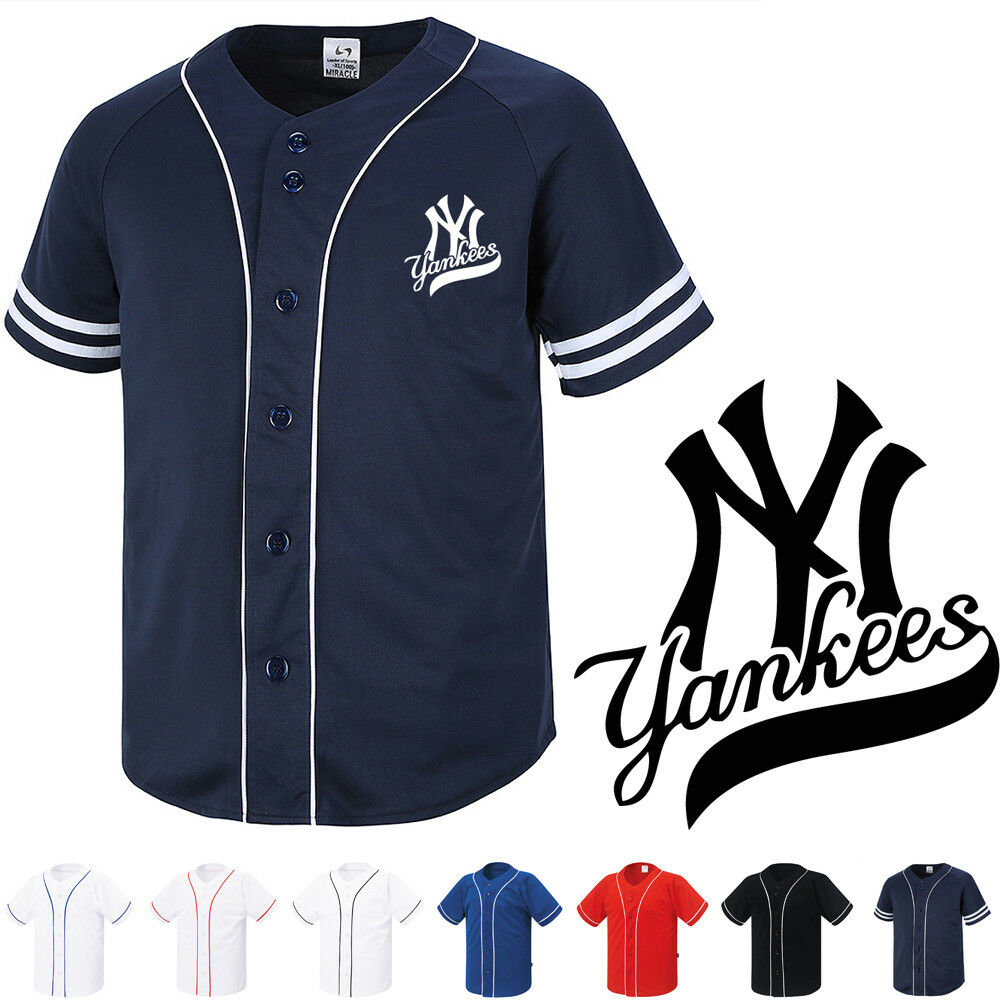 cd2cf101293b7 Details about NY New York Yankees Button Jersey Baseball Team Open T-Shirts  Sports Tee 1007