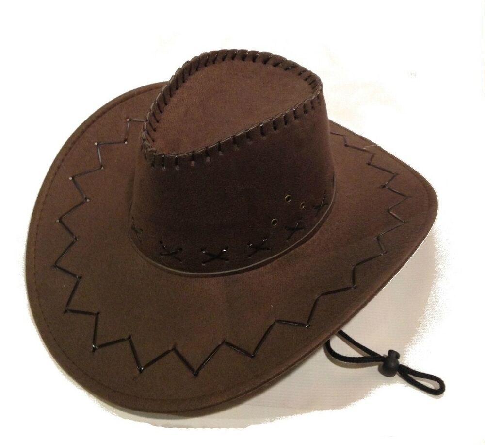 Details about Adult Size Brown Cowboy Hat Western Costume Suede Feel  Stitched Womens Mens NEW 88ed31d671b