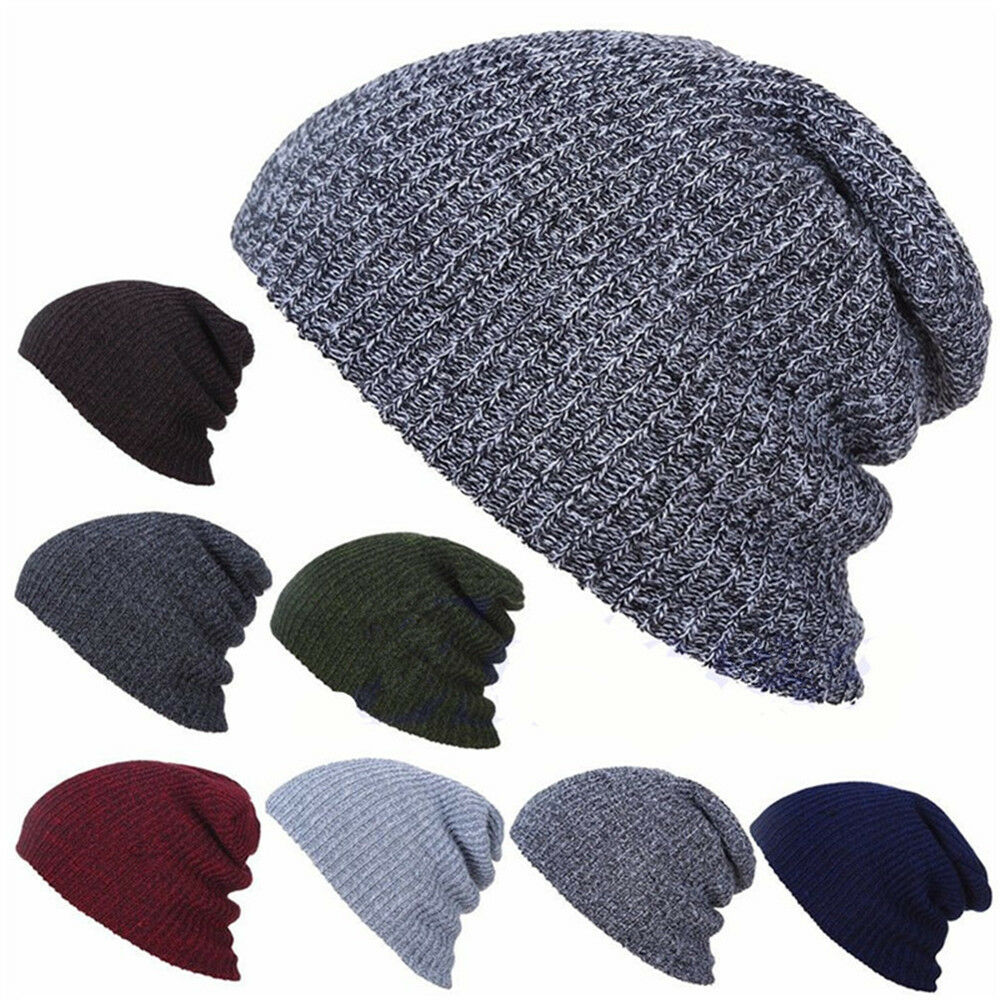 Details about Fashion Winter Mens  Striped Baggy Slouchy Knit Beanie Loose  Ski Hat Black Gray 3a299f56d096