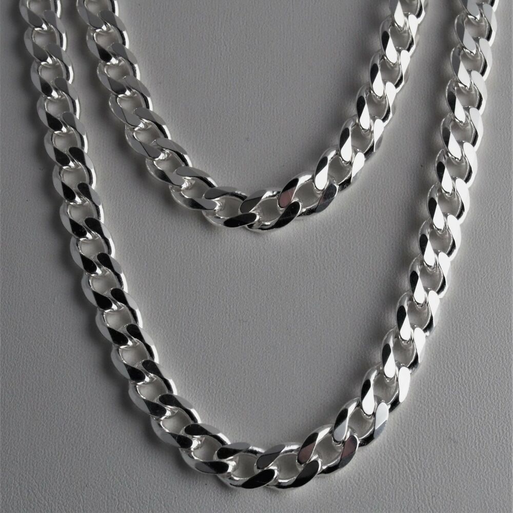 Heavy 8 3mm Solid 925 Sterling Silver Cuban Link Curb Chain Necklace 18 20 24 30 Ebay