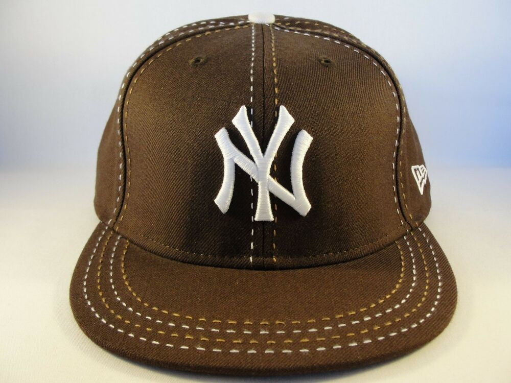 f1c1ed27248 Details about New York Yankees MLB New Era 59FIFTY Fitted Cap Hat Size 7  7 8 Brown