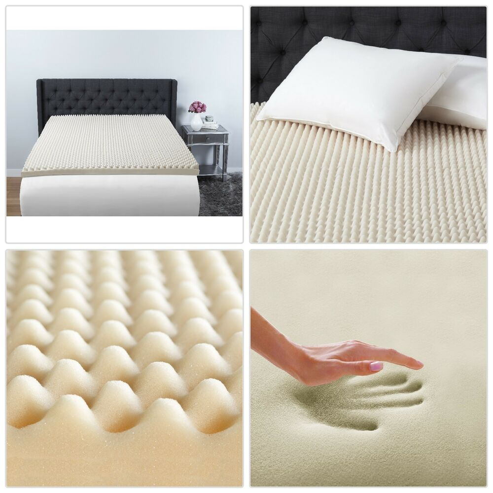 3 memory foam mattress topper full size egg crate convoluted back recovery pad ebay. Black Bedroom Furniture Sets. Home Design Ideas