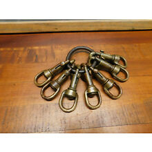 Old vintage brass swivel snap hooks collection of 7 sailboat rigging
