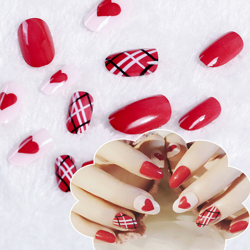 24x Acrylic Designer Nail Tips False Red Full Cover Nails Art Decor