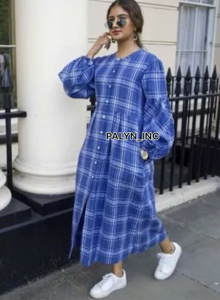 0c94bd43 Details about NWT ZARA SS18 BLUE CHECK TUNIC DRESS LINEN Front button-up&belt  4786/060_M L XL