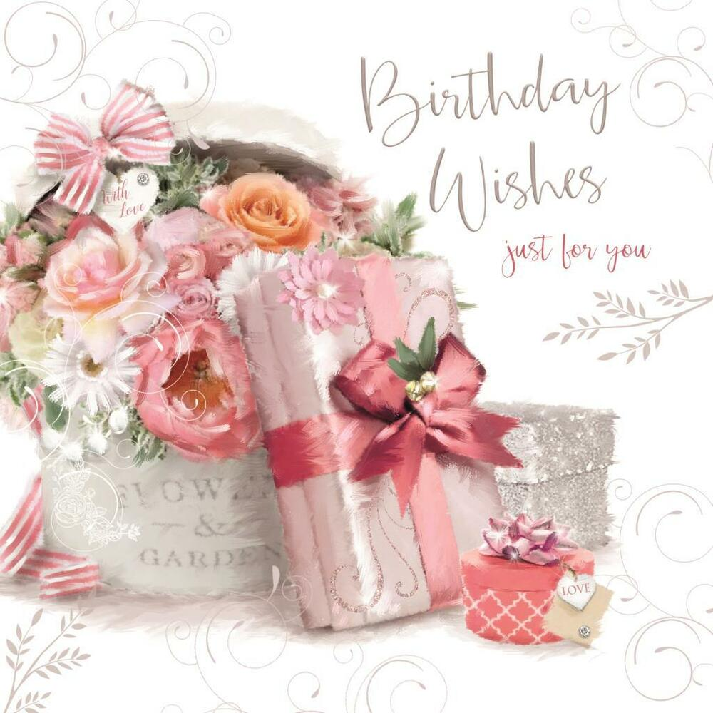 Happy Birthday Wishes Flowers Presents Gift Design Female Card