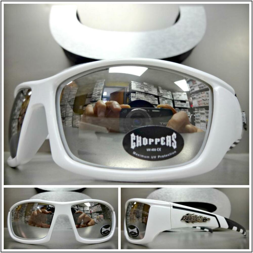 be445f027ce9a Details about WRAP AROUND SPORT Motorcycle Riding CHOPPERS SUN GLASSES  White Frame Chrome Lens