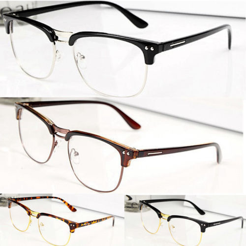 e36c242f32 Details about Fashion Hipster Vintage Retro Classic Half frame glasses  Clear Lens Nerd Eyewear