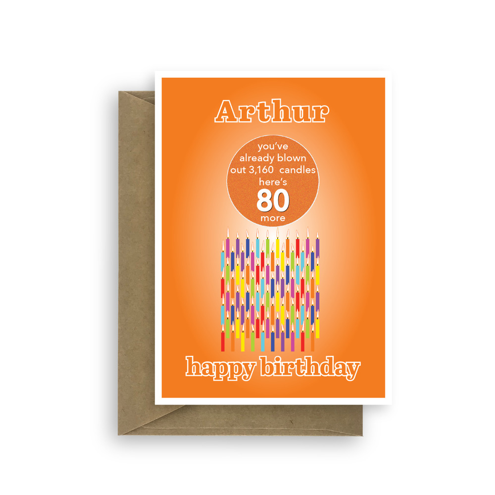 Details About Funny 80th Birthday Card For Him Her Edit Name 80 Bday Candles Dad Mom