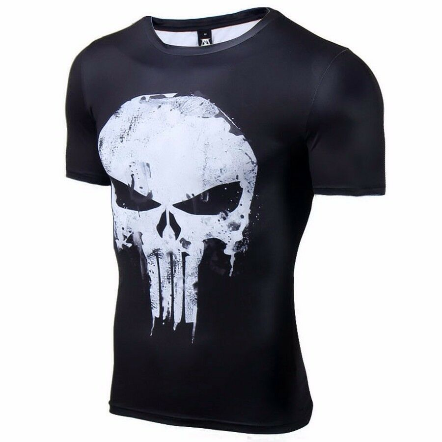 Details about Punisher skull SUPERHERO COMPRESSION EXERCISE GYM SHIRT LIKE UNDER  ARMOUR 21c97490ca1