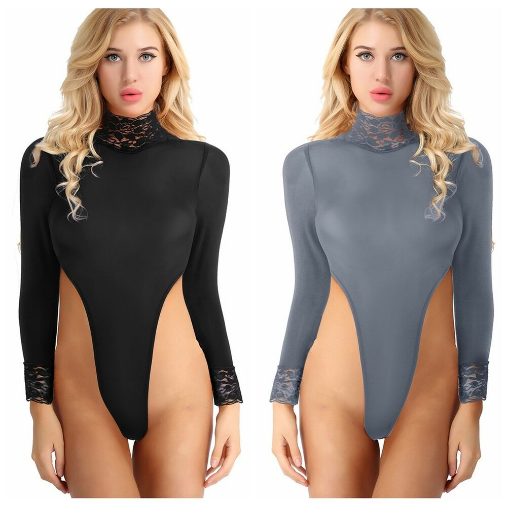 Details about One Piece Sheer Women Turtleneck Top Bodysuit Lingerie High  Cut Thong Leotard b5a67fd7e