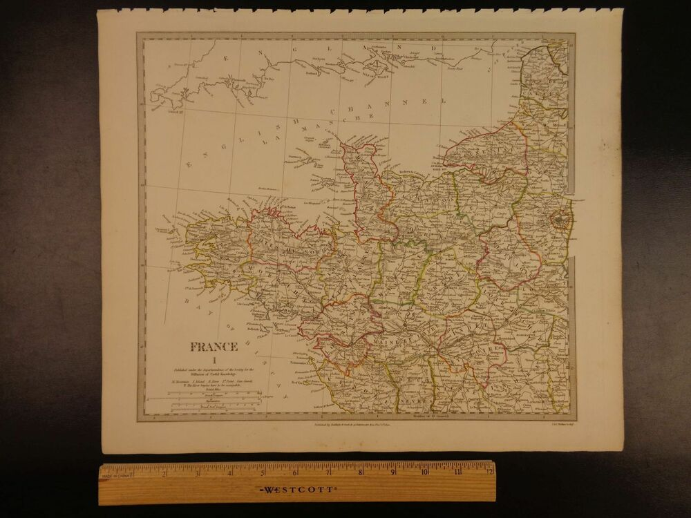 Map Of Northwest France.1844 Beautiful Huge Color Map Of Northwest France To Paris Atlas Ebay