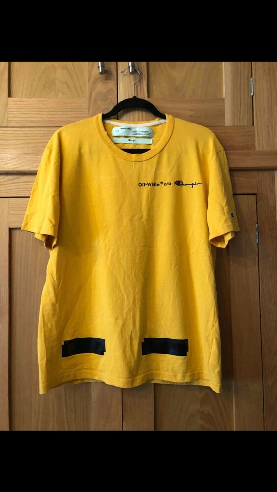 d1411954 Off white x champion yellow tee size small | eBay