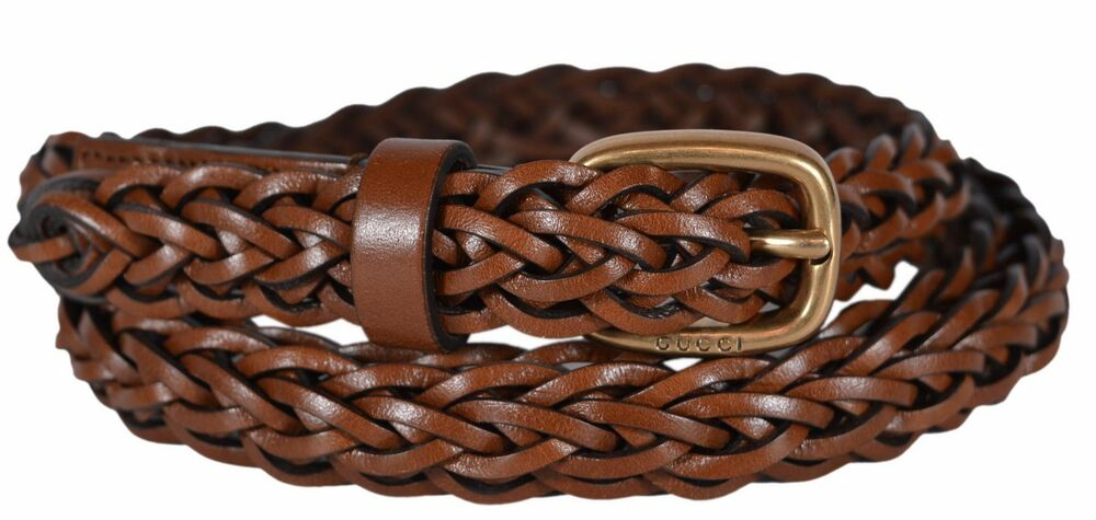 210a5c0dd21 Details about New Gucci Women s 380607 Brown Leather SKINNY Braided Golden  Buckle Belt 36 90 L