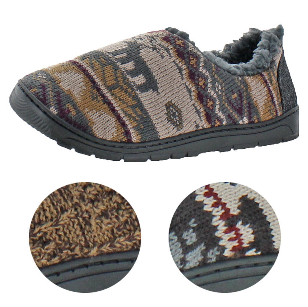 91c0aab2033 Details about Mukluks John Men s Clog Knit Sweater Slippers House Shoes