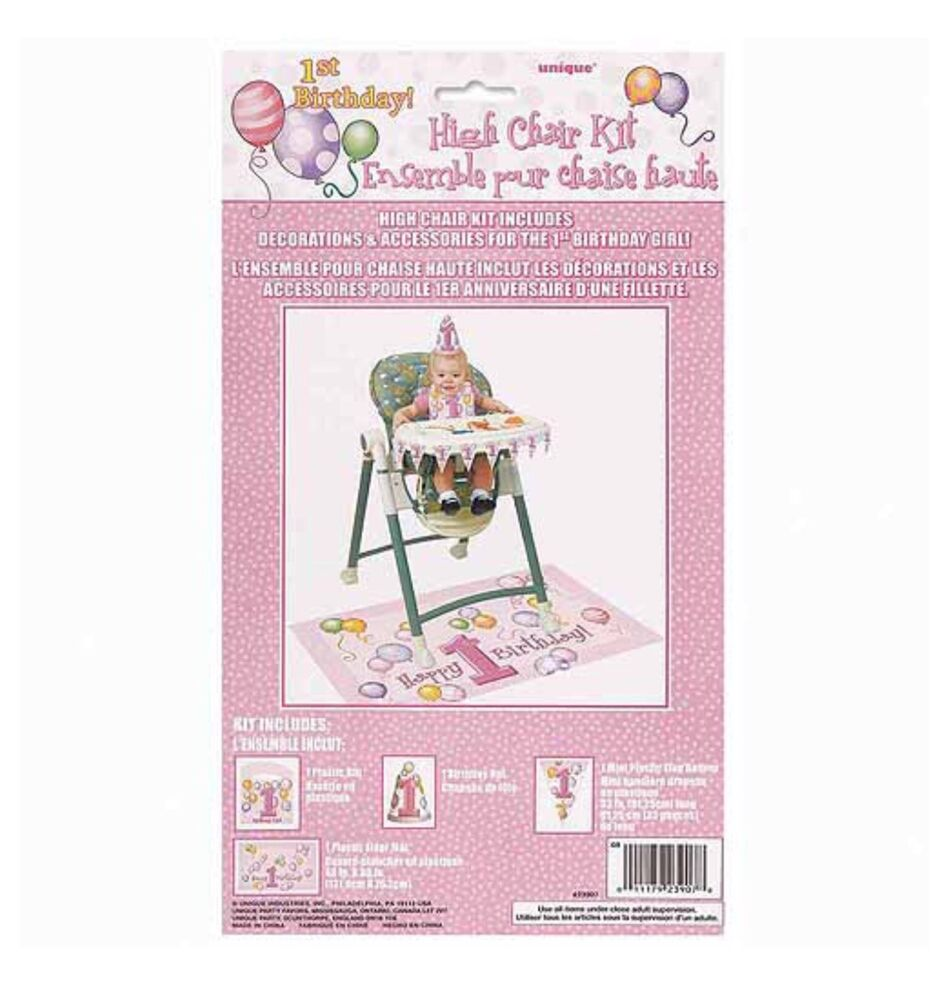 Details About First Birthday Balloons Pink High Chair Decorating KitBib Banner FloorMat Hat