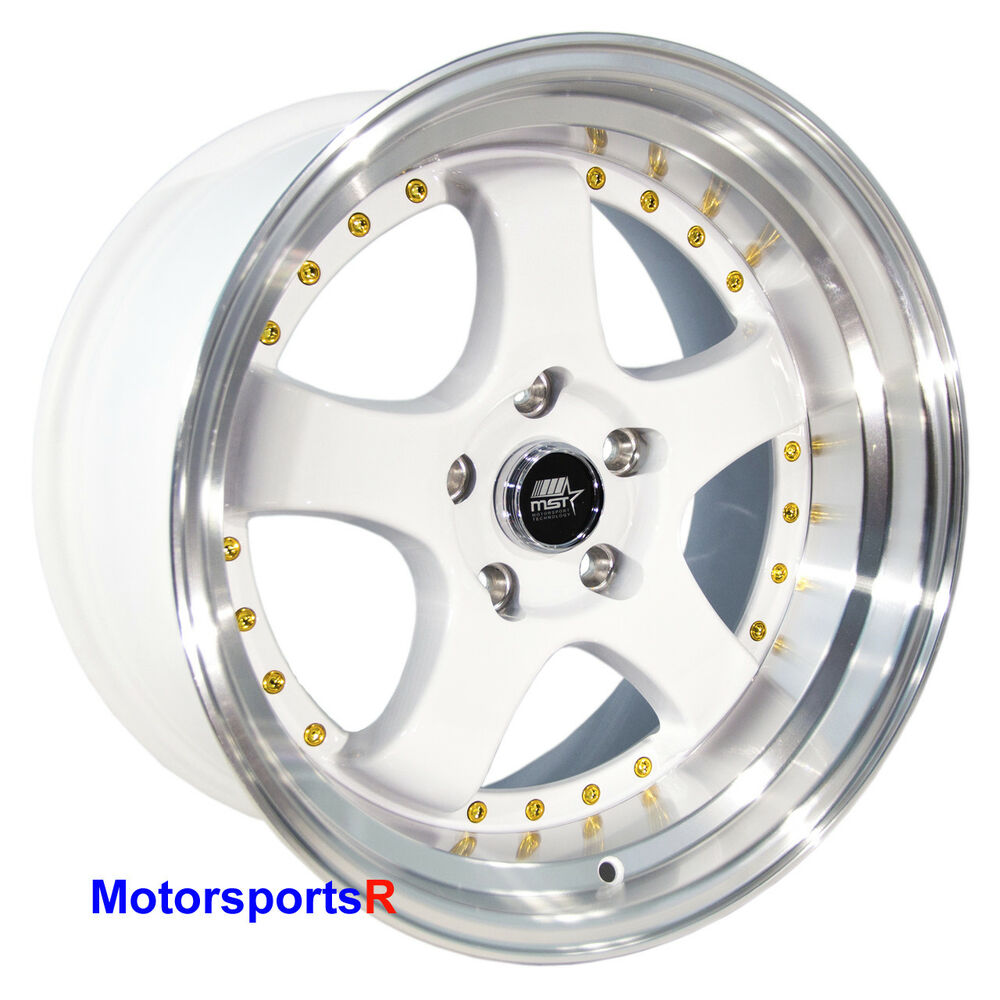 Details about mst wheels mt07 17 x 9 20 white deep dish lip rims 5x4 5 99 04 ford mustang gt