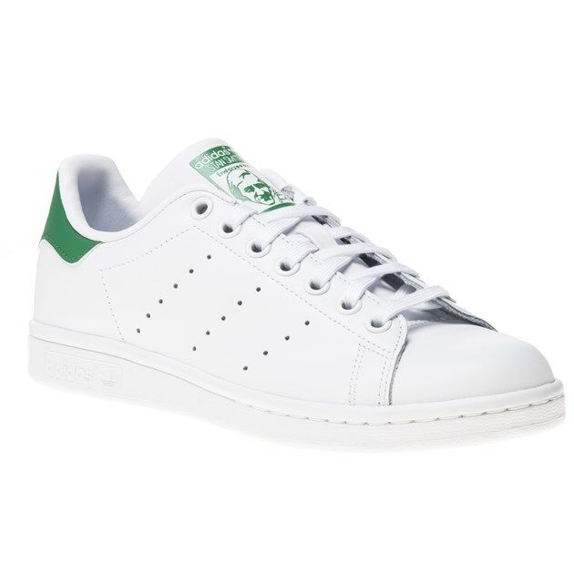 a76dfd4c6b60 Details about New Boys adidas White Stan Smith Leather Trainers Mono Lace Up