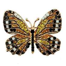 High End MONARCH BUTTERFLY Brooch Retro Vintage Style RHINESTONE Collector Pin