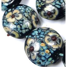 5 Lampwork Handmade Glass Lentil Coin Beads - Turquoise Blossoms 20mm