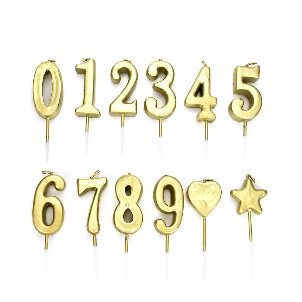 Details About Number 0 9 Happy Birthday Cake Candles Gold Topper Decoration Party Supplies DIY