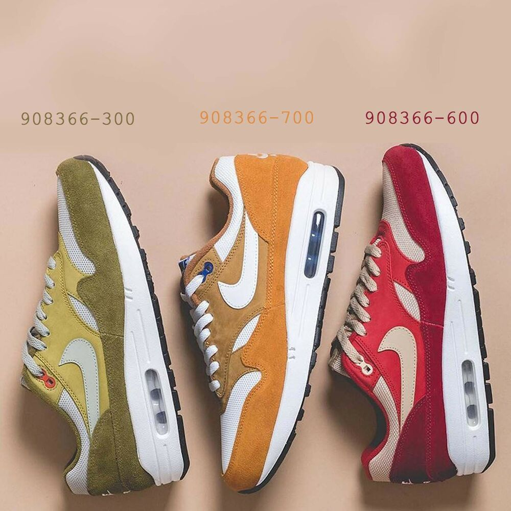 hot sale online a9be2 47d12 Details about atmos X Nike Air Max 1 Premium Retro Curry Pack Red  Brown   Green Pick 1