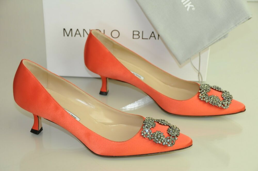 24d60585c84 NEW MANOLO BLAHNIK HANGISI 50 Coral Orange Satin JEWELED Pumps SHOES 41.5