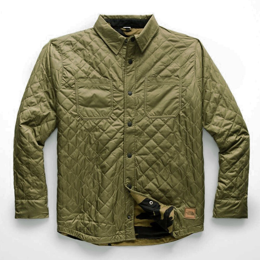 35b3fbf91605 Details about THE NORTH FACE 2019 FORT POINT INSULATED Reversible FLANNEL  JACKET Olive   Camo