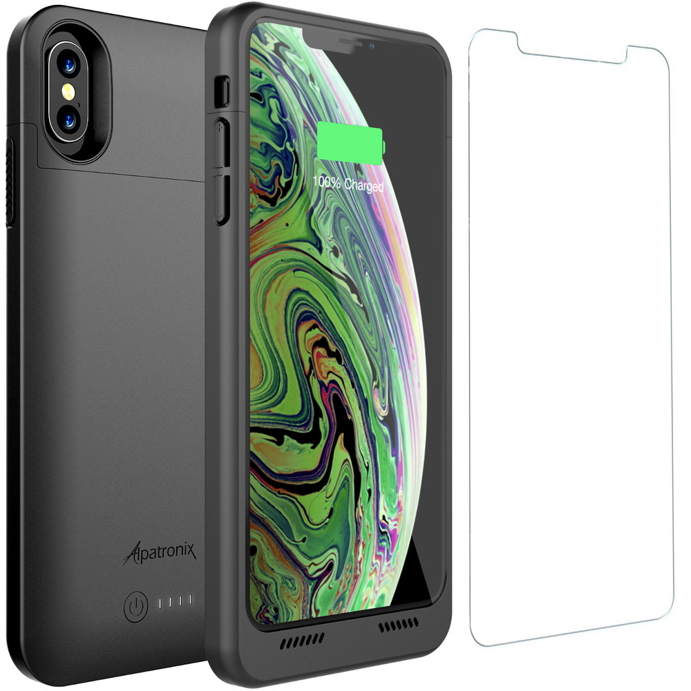 iphone xs max battery case charger cover with qi wireless. Black Bedroom Furniture Sets. Home Design Ideas