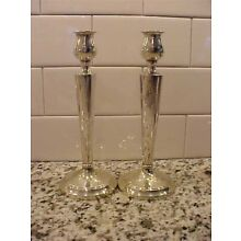 Art Deco Antique Tall Sterling Candlestick Pair  Excellent NR BIN