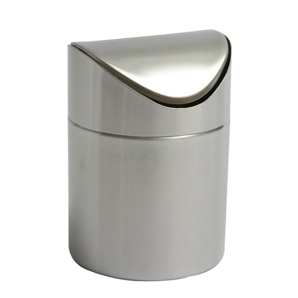Stainless Steel Mini Garbage Bin Trash Can Waste Container Home