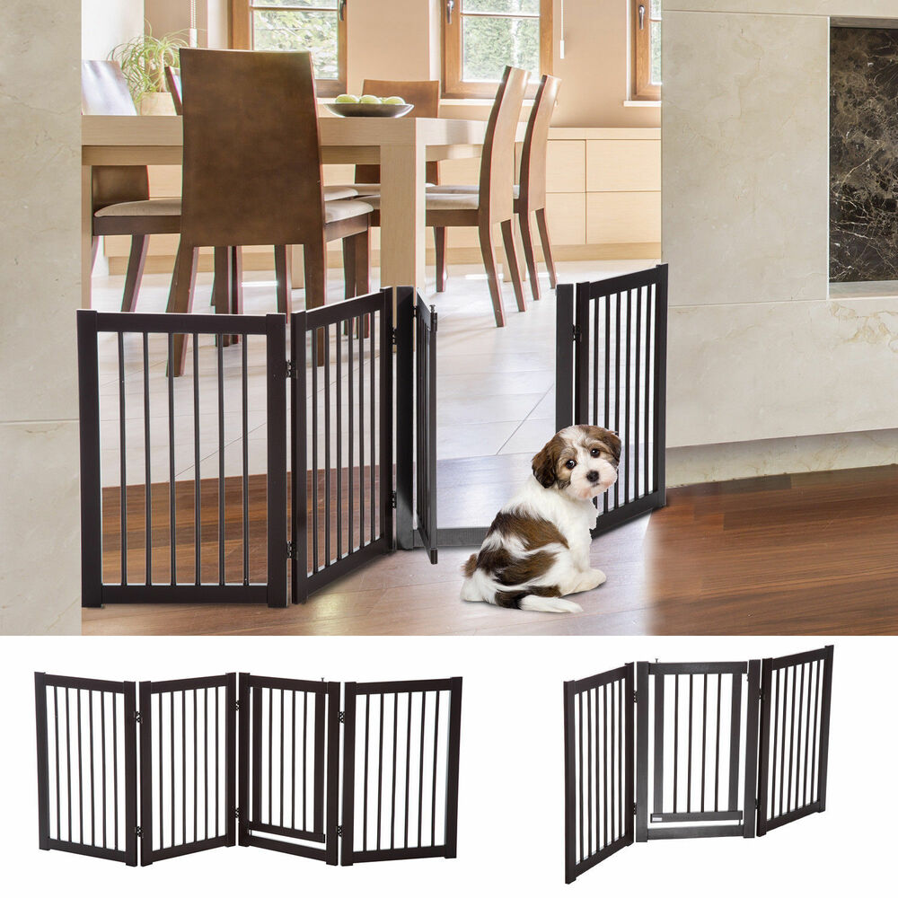 30 Quot Panel Wooden Folding Indoor Pet Dog Gate Freestanding