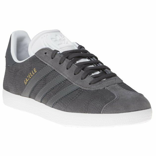 ebafdb7977a Details about New Womens adidas Grey Gazelle Nubuck Trainers Prints Lace Up