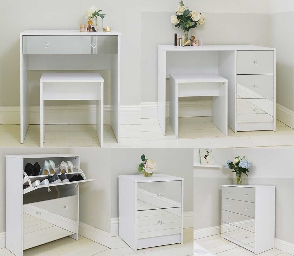 White Mirrored Bedroom Furniture Modern Crystal Handles
